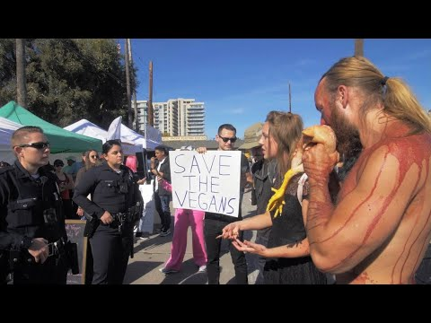 Eating Raw Chicken @ Vegan Sunday Market - Los Angeles, California - POLICE CALLED