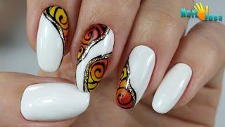 Дизайн ногтей за 30 сек пошаговое видео Маникюр с рисунком ГЕЛЬ ЛАКОМ Оксана Маляренко