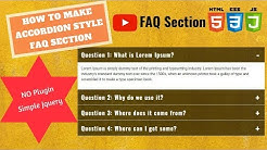 Simple Accordion Menu Section for FAQ Page (2018) | Using HTML, CSS and Basic Jquery