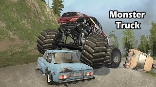 Spintires Mudrunner Monster Truck crushing cars