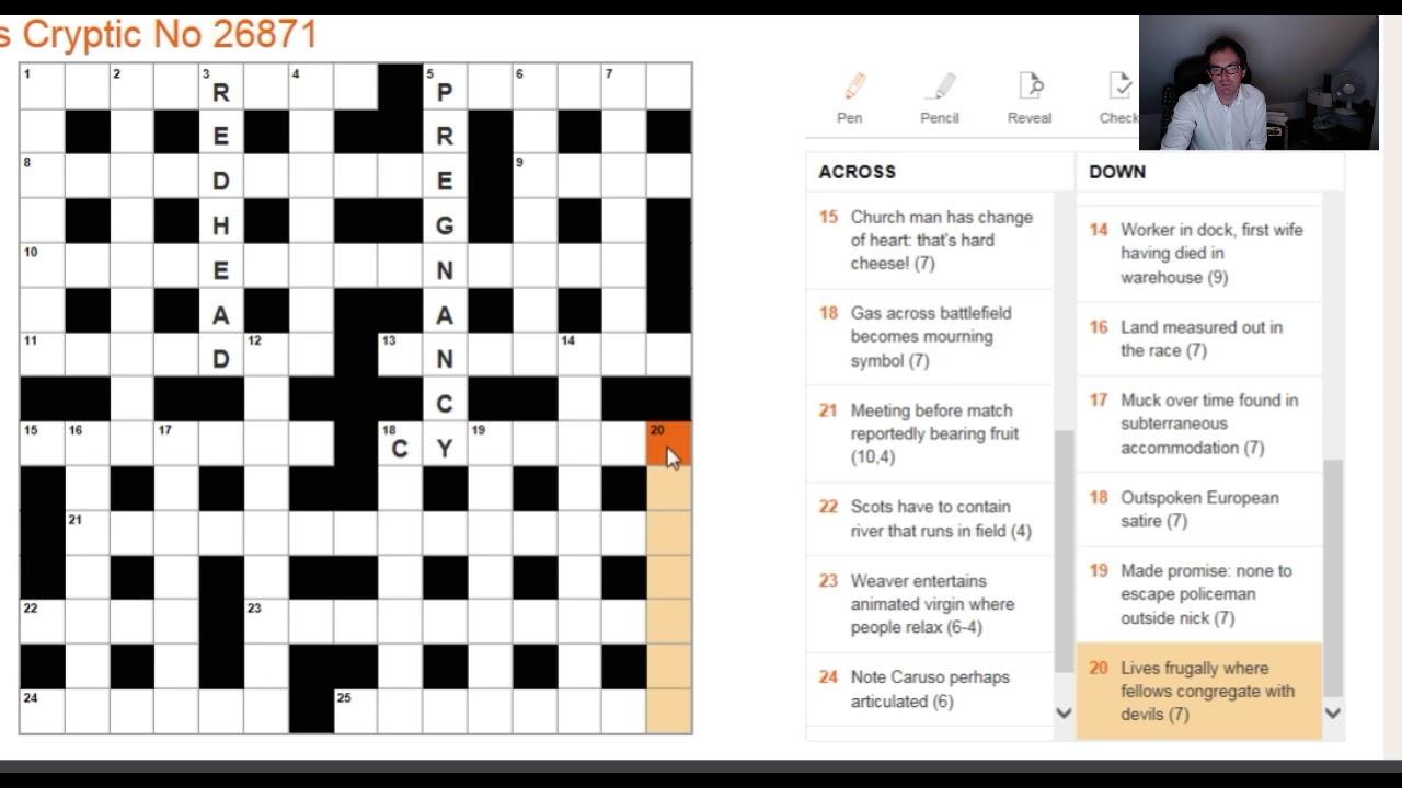 Beginner Video Solving The Times Crossword On 1 Nov 2017