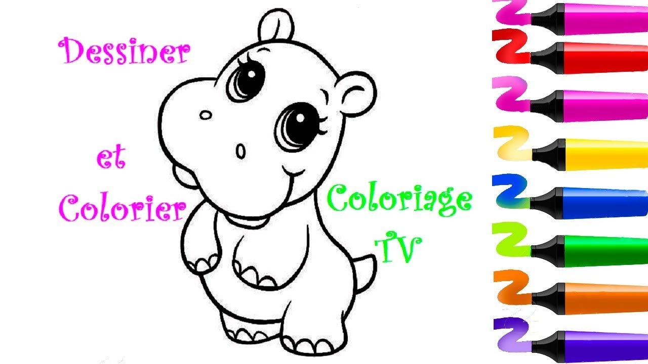 hippopotamus coloring pages how to draw hippopotamus youtube