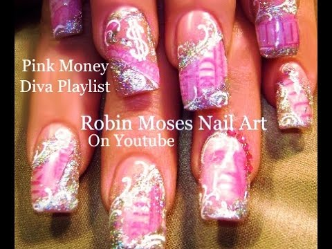 Pink Money With Silver Bling Nails Fierce Diva Nail Art Design
