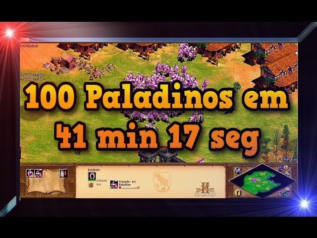 Age of Empires 2 HD 100 Paladins in 41 min 17 sec AoE2HD Gameplay PT BR