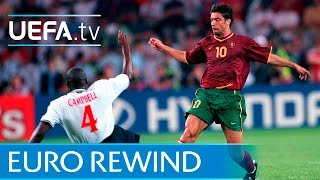 EURO 2000 highlights: Portugal 3-2 England(Watch the best moments from a thrilling group stage encounter as a Luís Figo-inspired Portugal came back from two goals down to win. Subscribe: ..., 2016-04-21T11:51:42.000Z)
