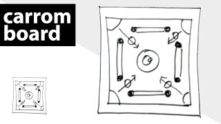 how to draw carrom board (free drawing lessons for kids)