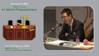 "Colloque ""Soft Law et droits fondamentaux"" - Intervention Mr Ludovic CHAN-TUNG"