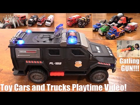 Toy Cars and Trucks Playtime Video! Police Cars, Fire Trucks