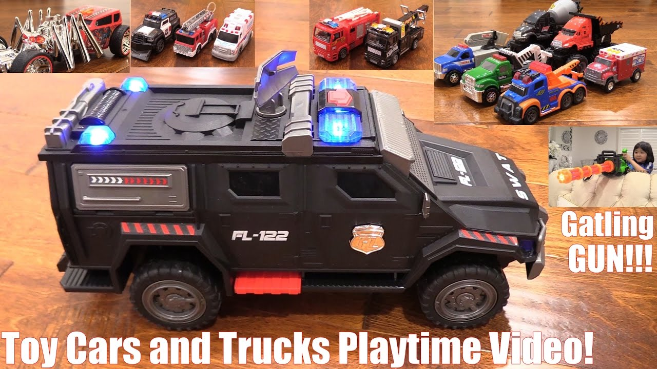 toy cars and trucks playtime video police cars fire trucks and more a gatling toy gun