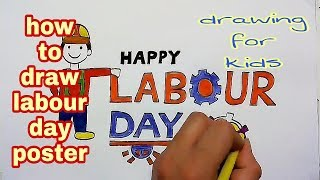 How to draw labour day poster || step by step labour day drawing