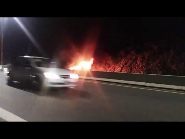 Se incendio un auto en la ruta A-73
