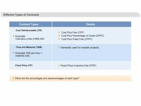 PMP Certification Training | Procurement Management | Contract Types: Cost, Time and Fixed Price