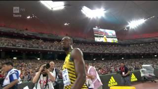 Usain Bolt gold - Justin Gatlin silver - 100m Heat -  2015 IAAF World Championships Beijing