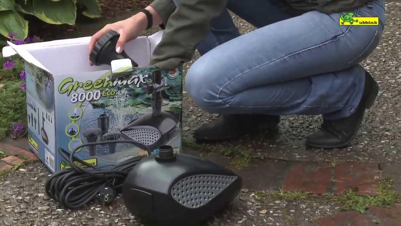 Pompe bassin de jardin greenmax 8000 ubbink youtube for Pompe de cascade pour bassin