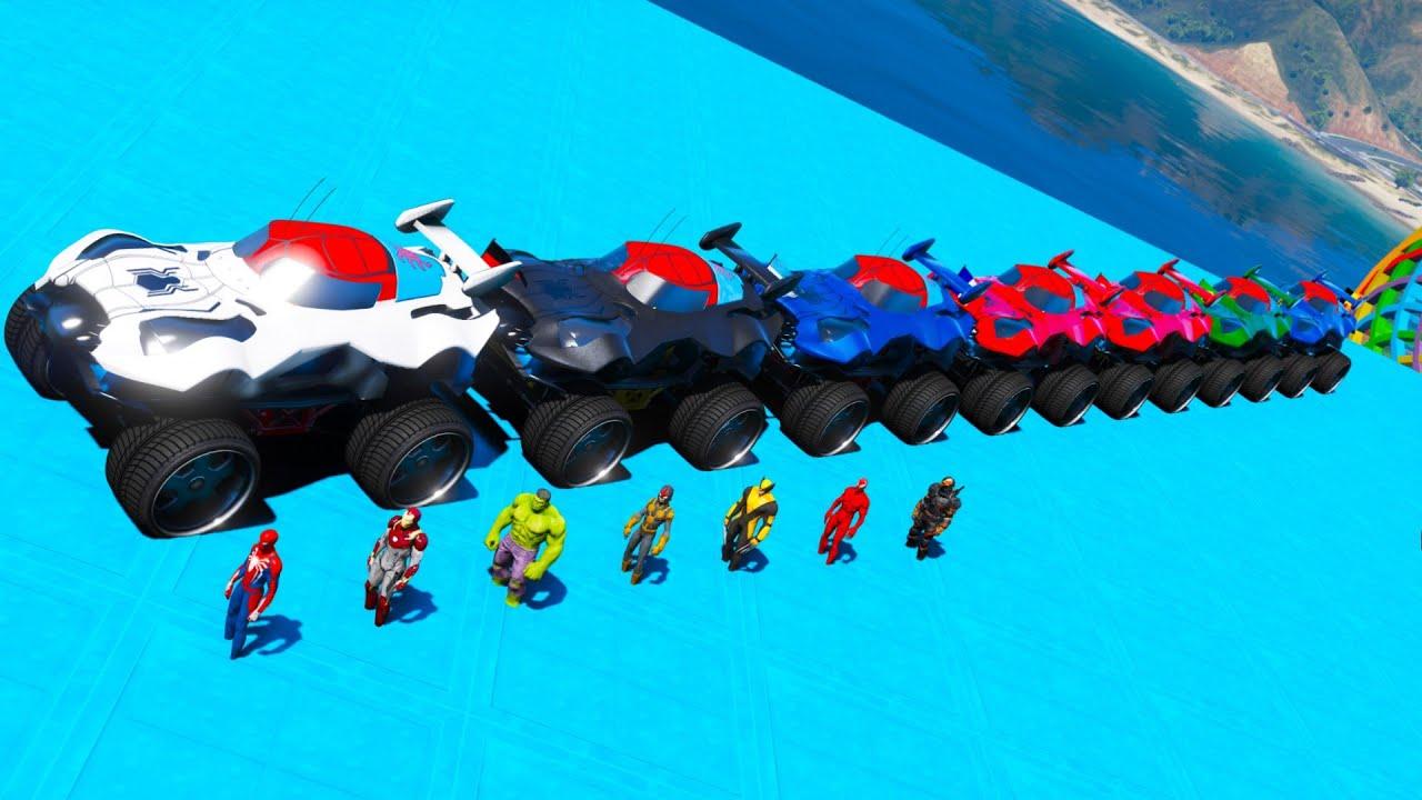 Off road Monster truck challenge GTA V Spiderman sp4 Red Venom Hulk Ironman Nova Wolverine