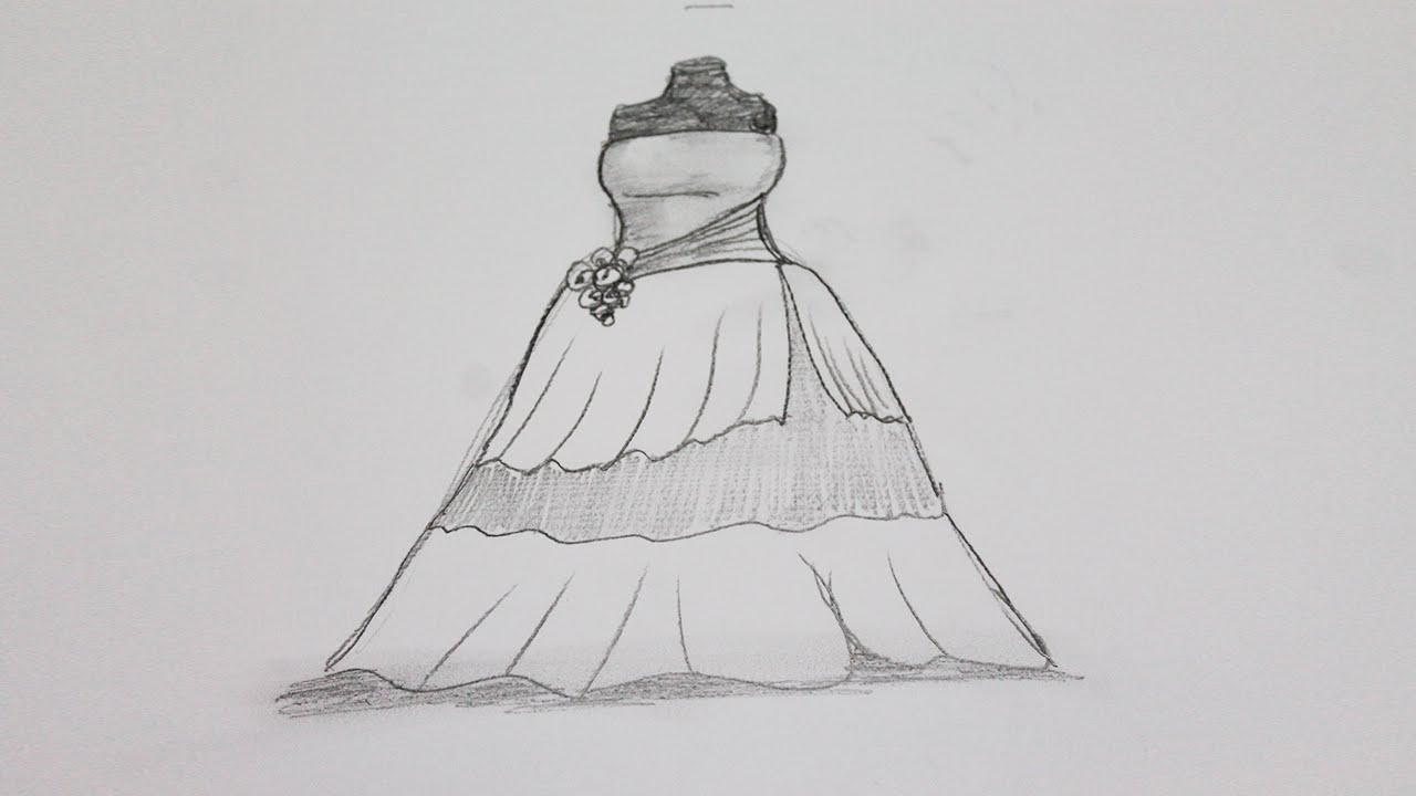 Quinceanera Dresses Coloring Pages.  How to draw a dress step by YouTube