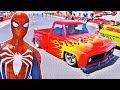 Homem Aranha, Power Rangers e outros Heróis com CARROS HOT WHEELS na MEGA RAMPA - GTA V MODS
