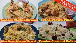 Tandoori Chicken Biryani - Mutton Biryani - Prawn Pulao - Tender Coconut Pulao- Daawat Basmati Rice