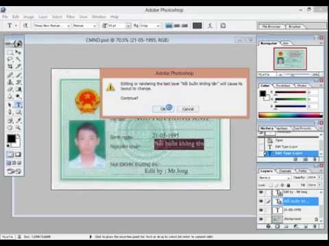 Hướng dẫn scam giấy chứng minh thư bằng photoshop