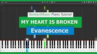 Evanescence - MY HEART IS BROKEN - New (piano tutorial)