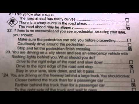 Actual California DMV Written Test - May 2012
