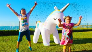 Ali and Adriana playing with Inflatable kids toys. Outdoor activities for family fun
