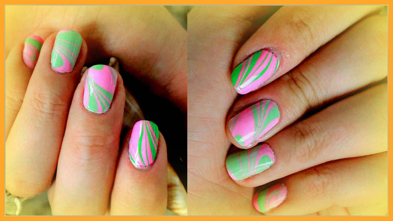 How To Pink And Marble Nails For Beginners For Short Nails Youtube