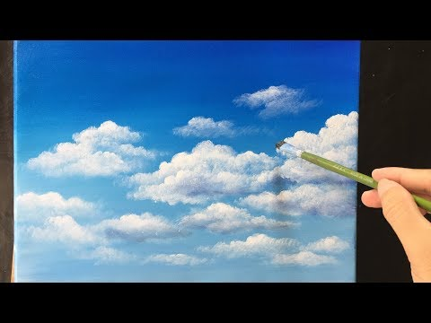 Painting Clouds in Acrylics lesson