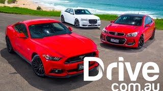 Ford Mustang GT v Holden Commodore SS-V v Chrysler 300 SRT comparison | Drive.com.au on Facebook