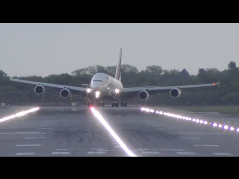 Airbus A380 crosswind landing at Gatwick airport Emirates airline