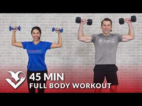 Full Body Workout with Dumbbells 45 Min Total Body Strength Workout with Weights at Home Training