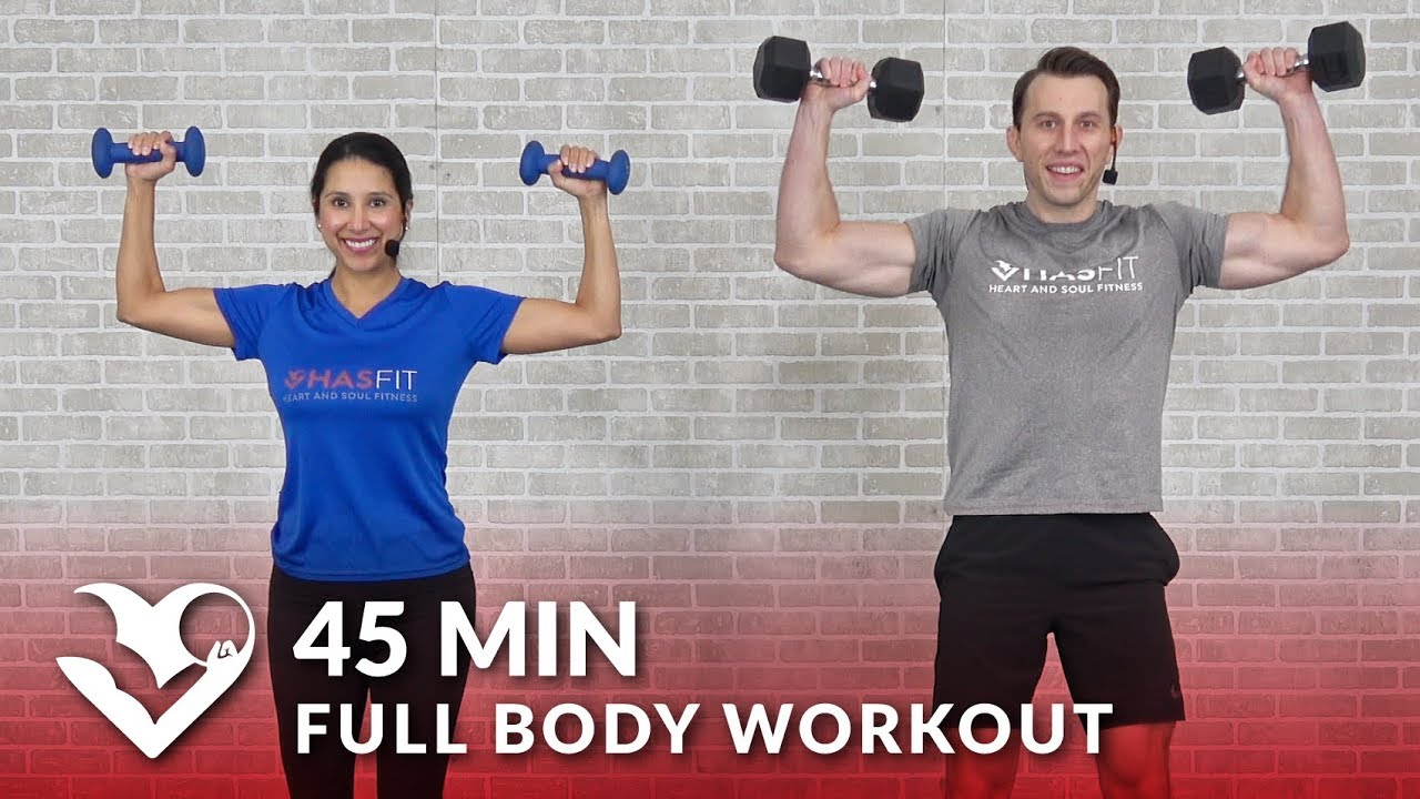 Full Body Workout with Dumbbells - 45 Min Total Body Strength Workout with Weights at Home Training