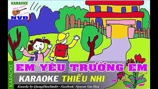   Karaoke HD   Em yêu trường em - Âm Nhạc Lớp 3