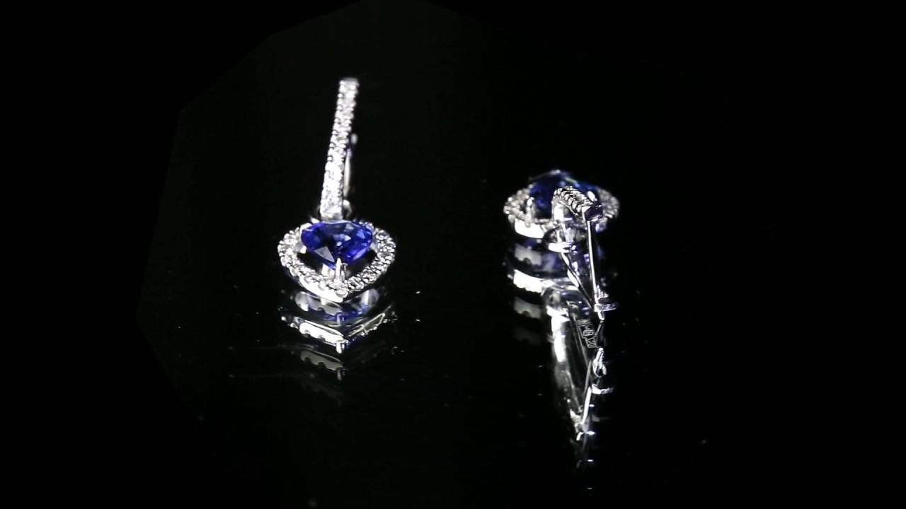 b920fb312145 Комплект (серьги и кольцо) из белого золота с сапфирами 2,04 карат и  бриллиантами 0,5 карат