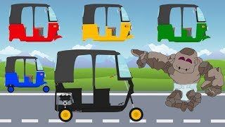 Street Vehicles Name and Sound Rickshaw Auto Tuk Tuk Colors and Cabins | Video For Kids
