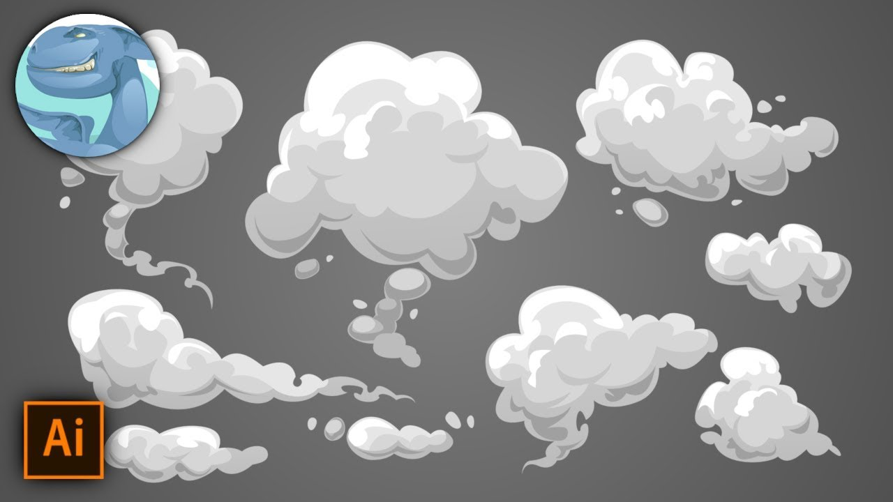 A set of simple clouds (smoke). Fast pencil sketch and ...