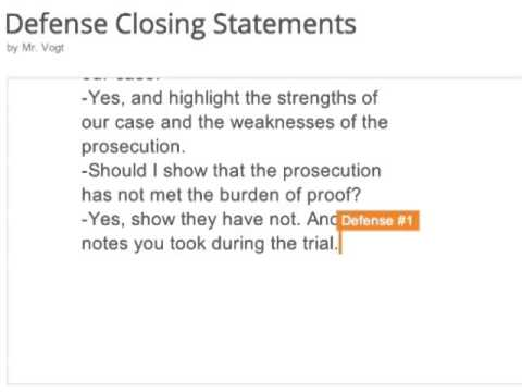 Defense closing statement youtube.
