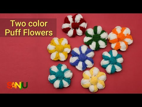 Crochet Two color puff flowers