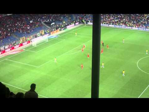 Suisse - Brésil (1-0) - Fin de match + Supporter brésilien sur la pelouse.