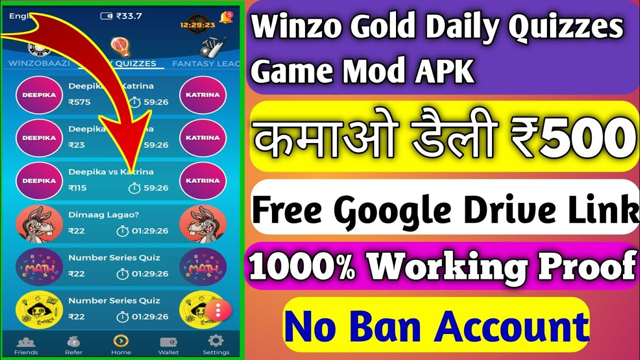 Winzo Gold Daily Quizzes Game Mod APK || कमाओ डैली ₹500 || 1000% Working || No Ban Account