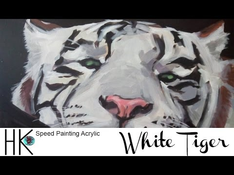 """Speed Painting Acrylic """"White Tiger"""" Part II - YouTube"""