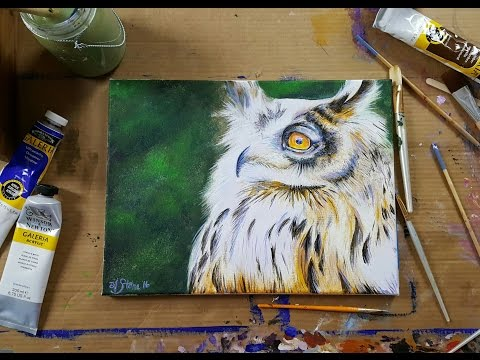 How to PAINT an OWL - Acrylic Painting - LIVE STREAM PAINT ALONG