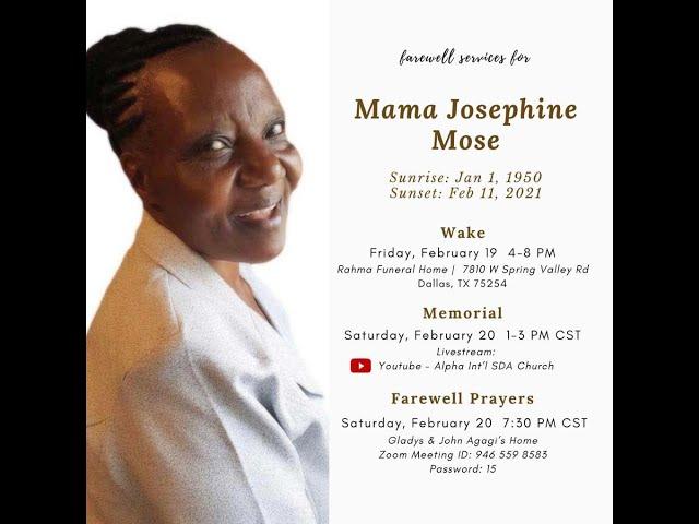 Mama Josephine Mose Memorial 2/20/2021