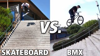 Skateboard vs BMX El Toro 20 Stair