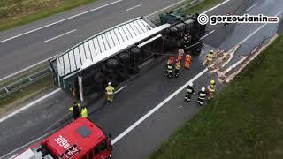 Ciężarówka przewróciła się na S3 pod Gorzowem