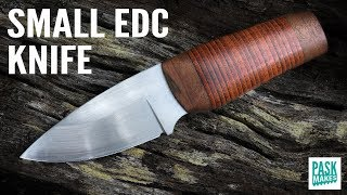 EDC (Every Day Carry) Knife with Leather Stacked Handle