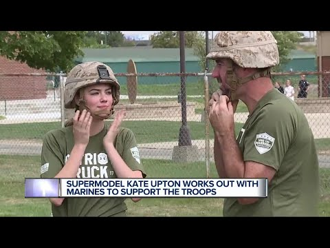 Supermodel Kate Upton works out with Marines to support the troops