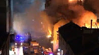 Famous Camden market of London on fire