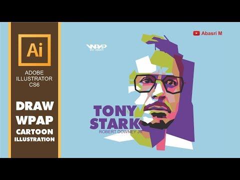 Adobe Illustrator - Draw Tony Stark   Robert Downey Jr Portrait in WPAP Style - Tutorial thumbnail