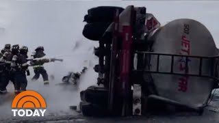 Good Samaritans Rescue Driver From Exploding Tanker Truck | TODAY